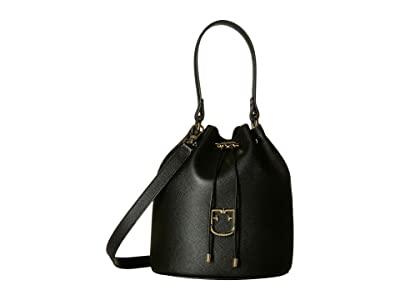 Furla Corona Small Drawstring Bucket Bag (Onyx) Handbags