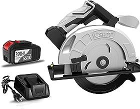 Kacsoo Sierra Circular inalámbrica 21 V 4200 RPM 4.0 Ah Batería Sierra Circular sin escobillas con Hoja de 7 Pulgadas y guía paralela Ángulo de Corte 45 ° y 90 ° Profundidad de Corte 0-80 mm