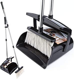 Broom and Dustpan Set with Lid Outdoor Or Indoor Dust Pan 3 Foot Cleans Broom Push Combo Upright Long Stainless Steel Handle Kids Lobby Pet Dog Hair Wood Floor Room Office Sweeping Kitchen House