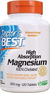 Doctor's Best High Absorption Magnesium Glycinate Lysinate, 100% Chelated, TRACCS, Not Buffered, Headaches, Sleep, Energy,...