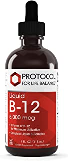 Protocol For Life Balance - Liquid Vitamin B-12 5,000 mcg - Complete Liquid B-Complex High in Folic Acid to Support Healthy Nervous & Digestive Systems & Provide Energy Boost - 4 fl. oz. (118 mL)