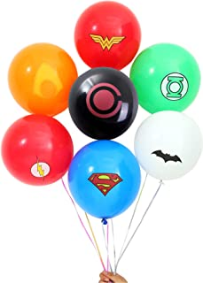 Justice League Superhero Emblem Balloons - 140 Pack for Party Supplies, Birthday, Carnival Festival, Ceremony (Assorted Superheros)