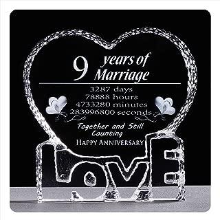 YWHL 9 Year 9th Wedding Anniversary Crystal Sculpture Keepsake Gifts for Her Wife Girlfriend Him Husband (9 Year)
