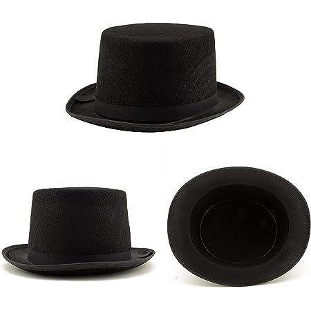 Vintage Miniature Black TOP HATS Pkg of 5 Hard Plastic Doll Hats Snowman Groom