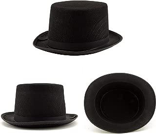 Adorox Sleek Felt Black Top Hat Fancy Costume Party Accessory (Black (1 Hat))