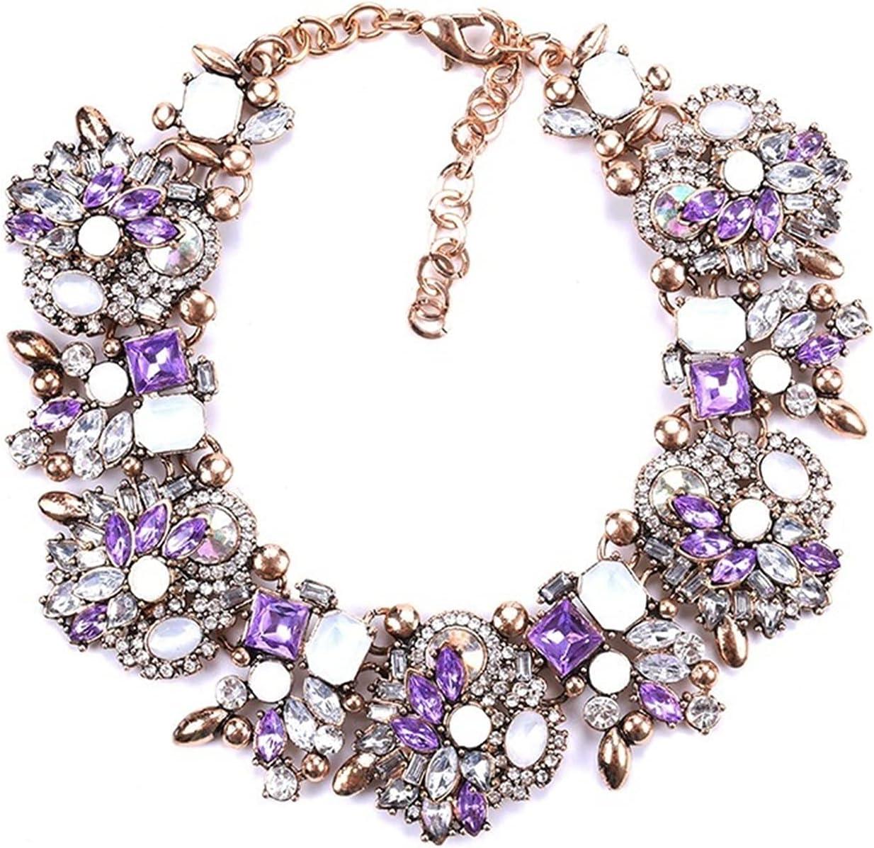 ZCPCS New 2021 Indian Statement Choker Necklace Women Luxury Crystal Rhinestone Big Bib Necklace Femme Boho Ethnic Large Collar Necklace (Metal Color : Purple)
