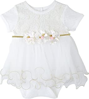 Taffy Baby Girl Newborn Gold Glitter Floral Short Sleeve Unique Tutu Bodysuit