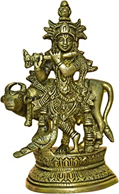 999Store Brass Idol Krishna with Cow and Peacock (Brass_5.4 x 3.4 Inch _Golden_ 0.78 kg ) Brass036