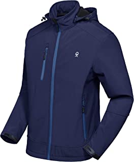 Men's Softshell Jacket with Removable Hood, Fleece Lined and Water Repellent