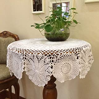Damanni Beige White Cotton Handmade Crochet Lace Tablecloth Doilies Doily,Round,27-39 Inch, Cotton, White, 35 Inch