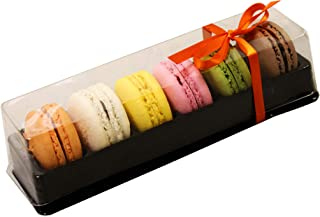 Clear and Black Base Plastic French Macarons Small Gift Boxes - Holds 6 Macarons - Cavity Size 1.76'' x 1''- Pack of 20