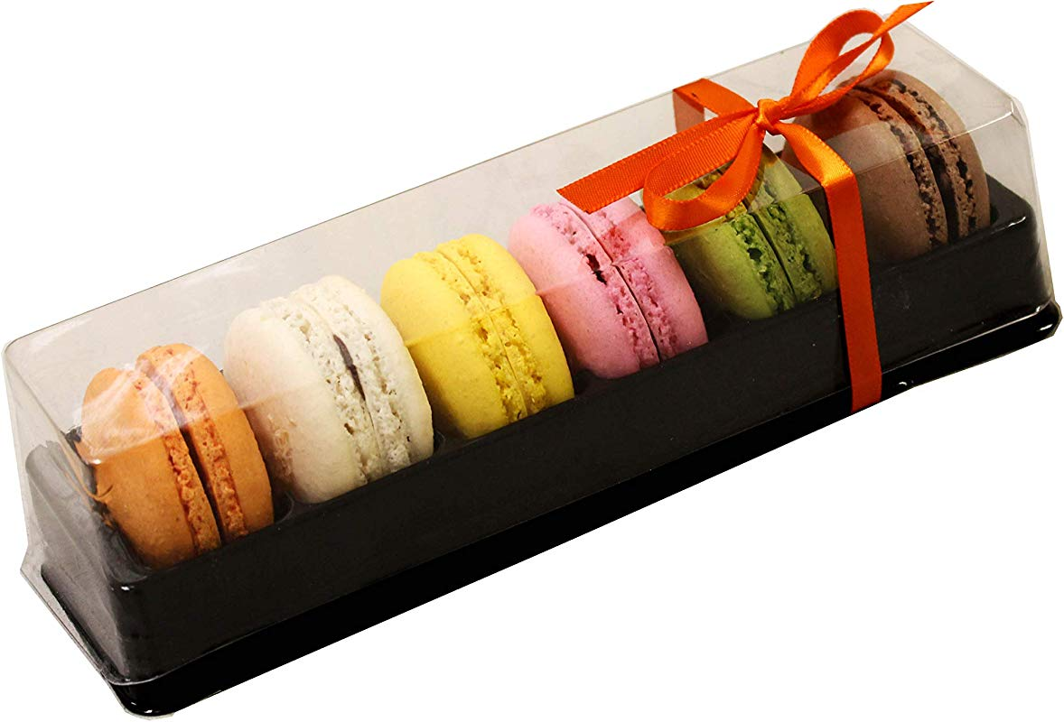 Clear And Black Base Plastic French Macarons Small Gift Boxes Holds 6 Macarons Cavity Size 1 76 X 1 Pack Of 20