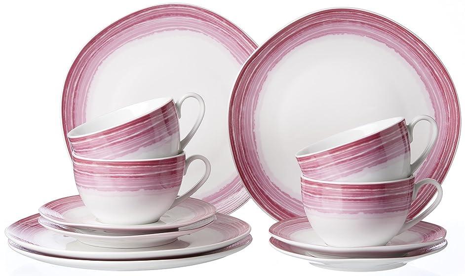 Ritzenhoff & Breker Sunrise Coffee Serving Set 12?Pieces, Porcelain, Pink, 28?x 23?x 29?cm,?–?Units