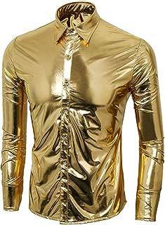 Men Nightclub Metallic Silver Button Down Short Long Sleeve Shirts Tops Costume