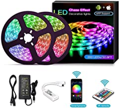 TECHVIDA LED Strip, LED Strip Kit, Light Bar Controlled by Smartphone, Wireless, WiFi, for Android and iOS, Alexa, Google Assistant, 32.8 ft / 10M (2x5M)