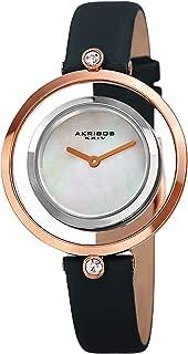 Akribos XXIV Womens Quartz Watch, Analog Display and Leather Strap AK1060BU