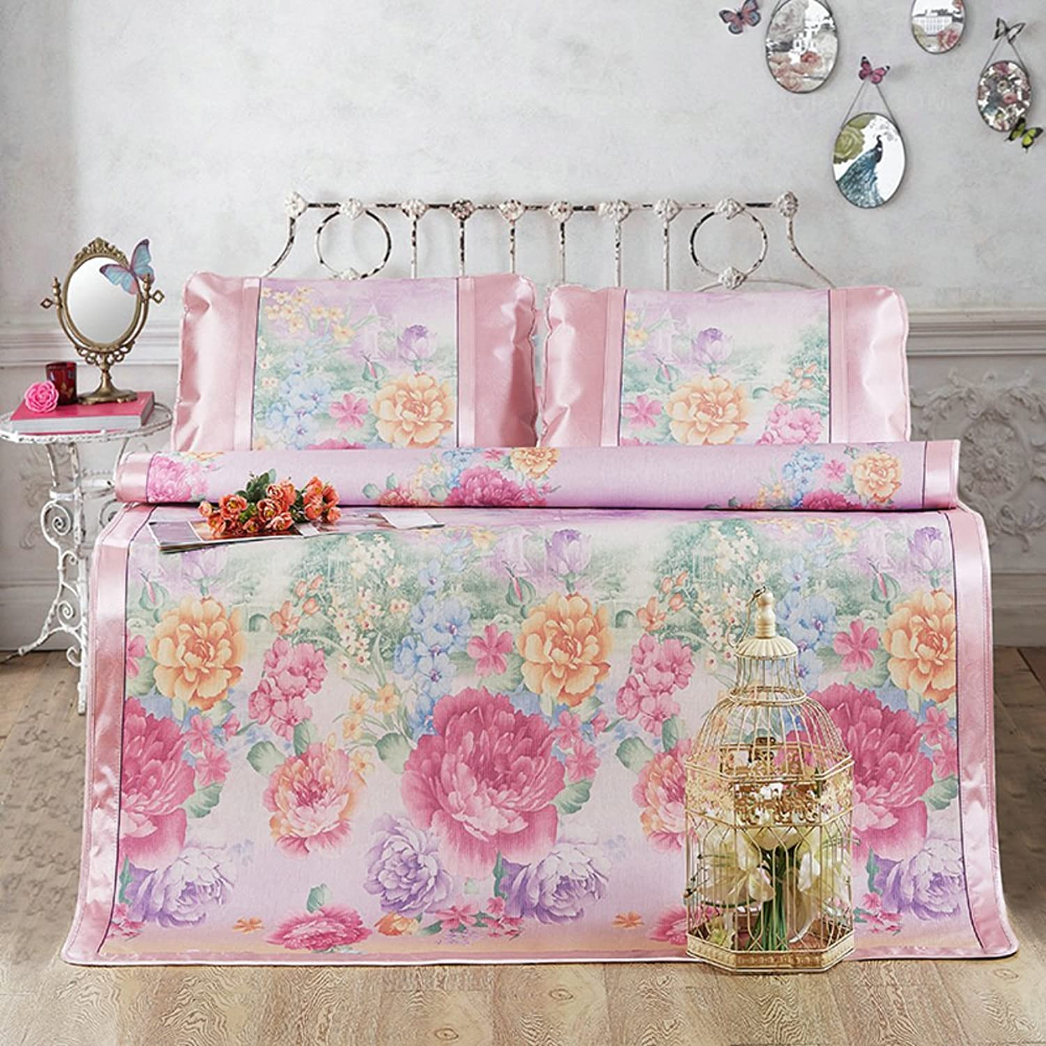 Summer Ice Silk Mat Three-Piece Foldable Printing Thick Air Conditioning Soft Seat(1 Mat+2 Pillowcase)-H Queen1