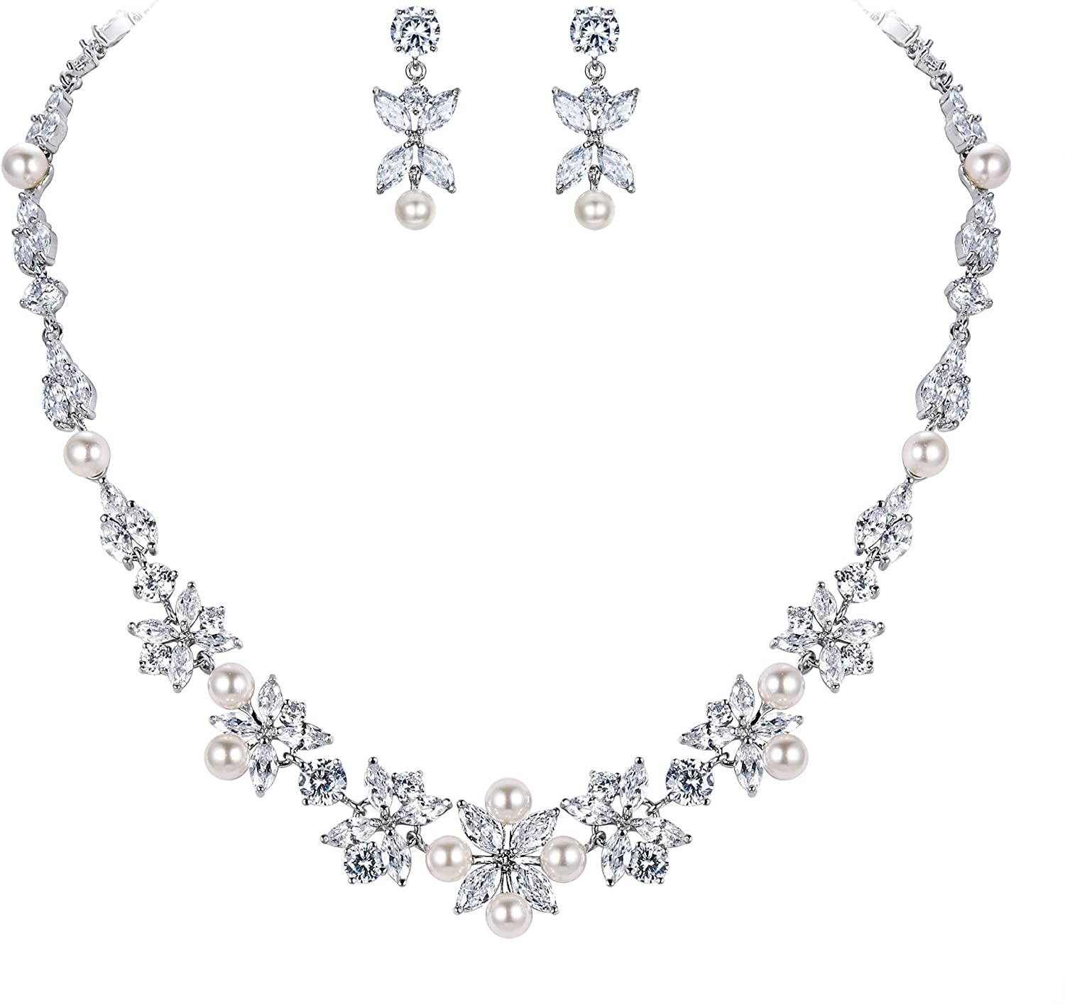 EVER FAITH Wedding Jewelry Gorgeous Bri Simulated Pearl Max 77% OFF White CZ Courier shipping free shipping