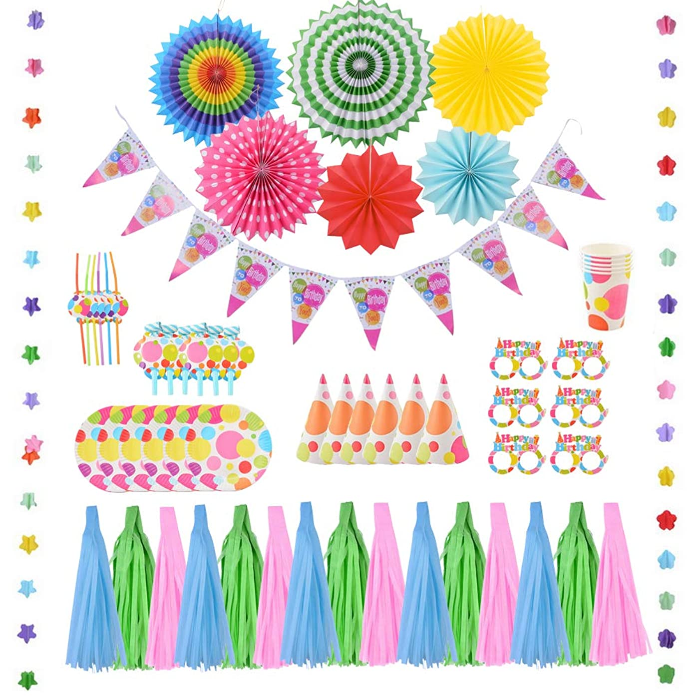 JuneJour Birthday Party Supplies Multicolor Decorations Kit with Blowing Dragons Whistle, Tassel, Hanging Paper Fans, Cake Plates, Birthday Glasses, Cup and Straw (60 Pack)