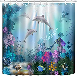 LB Dolphin Shower Curtain for Kids Adults Bathroom Curtain with Hooks Blue Ocean Underwater Fish Coral Reef Decorations 72x72 inch Polyester Fabric Waterproof