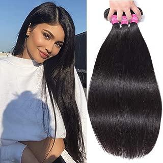 B-fashion Brazilian Straight Human Hair 3 Bundles 14 16 18inch 10A Unprocessed Virgin Straight Hair Bundles Brazilian Hair Straight Bundles Remy Hair Weave Extensions Natural Color