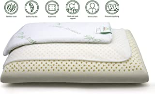 Anatural Latex Pillow, 100% Natural Latex Pillow Breathable Organic Foam Double Zipper Removable Bamboo Cover, Pillow for Side Back Sleeper (27.6'' Bread Pillow- Soft)