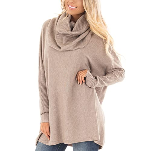 1c287c5c48d Dokotoo Womens Causal Solid Knit High Neck Loose Sweater Pullovers