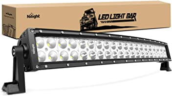 Nilight - 70015C-A LED Light Bar 22Inch 120W Curved Spot Flood Combo LED Driving Lamp Off Road Lights LED Work Light for Trucks Boat Jeep Lamp,2 Years Warranty