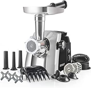 The STX Turboforce Cadet Classic 2000 Series Electric Meat Grinder & Sausage Stuffer - 3 Grinding Plates, 3 S/S Blades, 3 Sausage Tubes, 1 Kubbe Maker. 2 Free Meat Claws and Burger-Slider Press