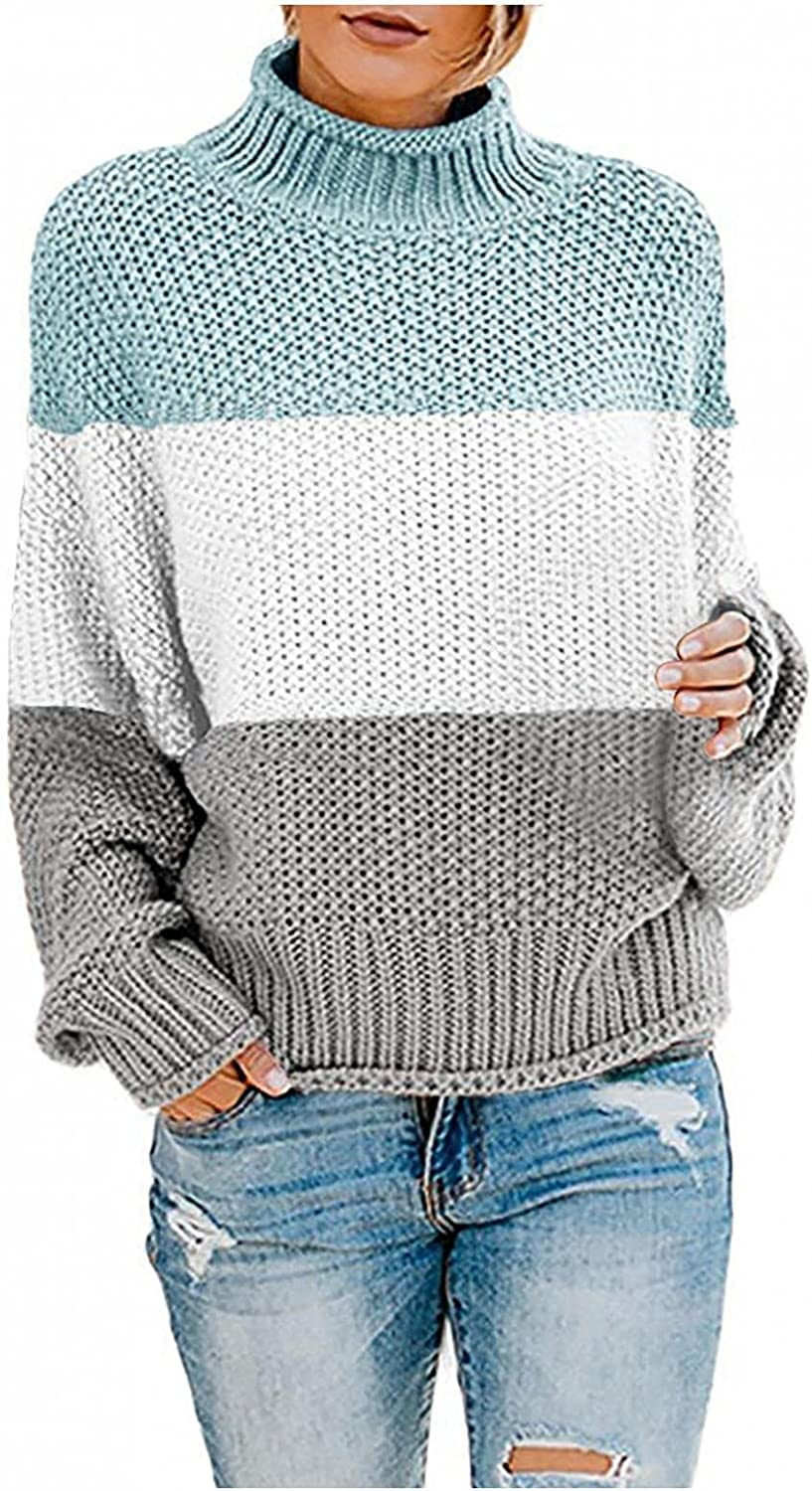 UOCUFY Sweaters for Women, Womens Turtleneck Long Sleeve Loose Oversized Chunky Knitted Pullover Sweater Jumper Tops