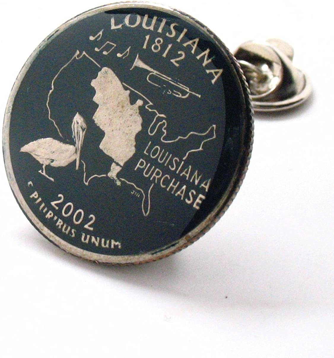 Louisiana Quarter Tampa Mall Tie Tack Lapel Pin Jewelr OFFicial mail order Coin State Flag Suit