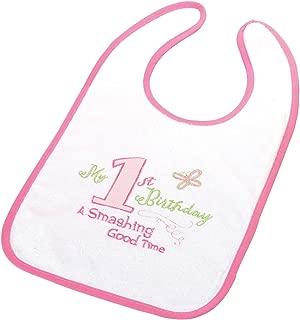 Lillian Rose First Birthday Cotton Bib, Pink, 8.75 x 14