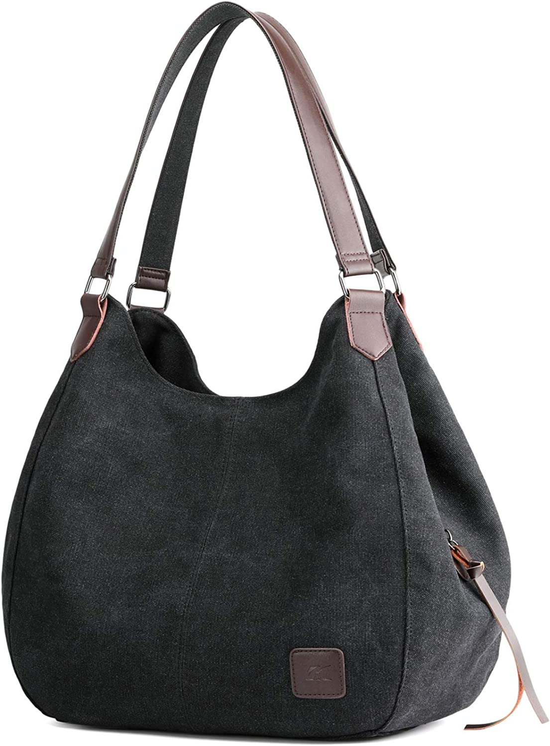 Hobo Purses for Women Canvas Tote Shoulder Bags Vegan Handbags with Compartments