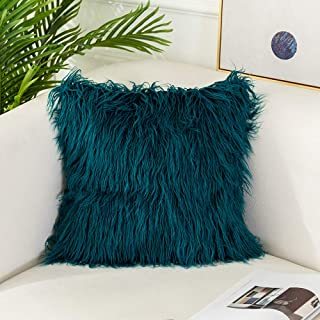 OJIA Deluxe Home Decorative Super Soft Plush Mongolian Faux Fur Throw Pillow Cover Cushion Case (20 x 20 Inch, Teal Blue)