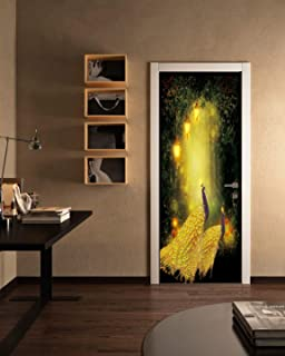 FLFK 3D Fantasy Forest Peacock Wallpaper Door Mural Wall Stickers for Home Decoration Vinyl Removable Decals 30.3x78.7 Inch