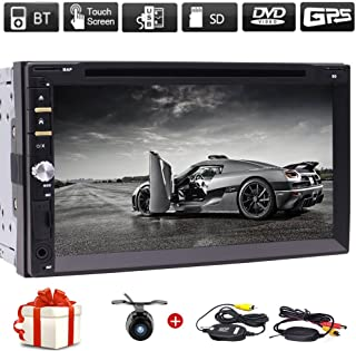 Free Wireless Backup Camera & Remote Control+ 7 Wince Double Din Car Radio in Dash FM/AM Multi-Touchscreen GPS Navigation Car DVD Player Headunits Work with Bluetooth Subwoofer USB SD Free Map Card