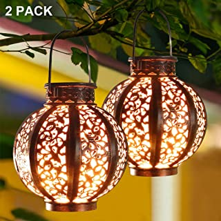 MAGGIFT 2 Pack Hanging Solar Lanterns Retro Solar Lights with Handle, Outdoor Solar Garden Lights Decor for Yard Tree Fence Patio 6 Lumens, Brown