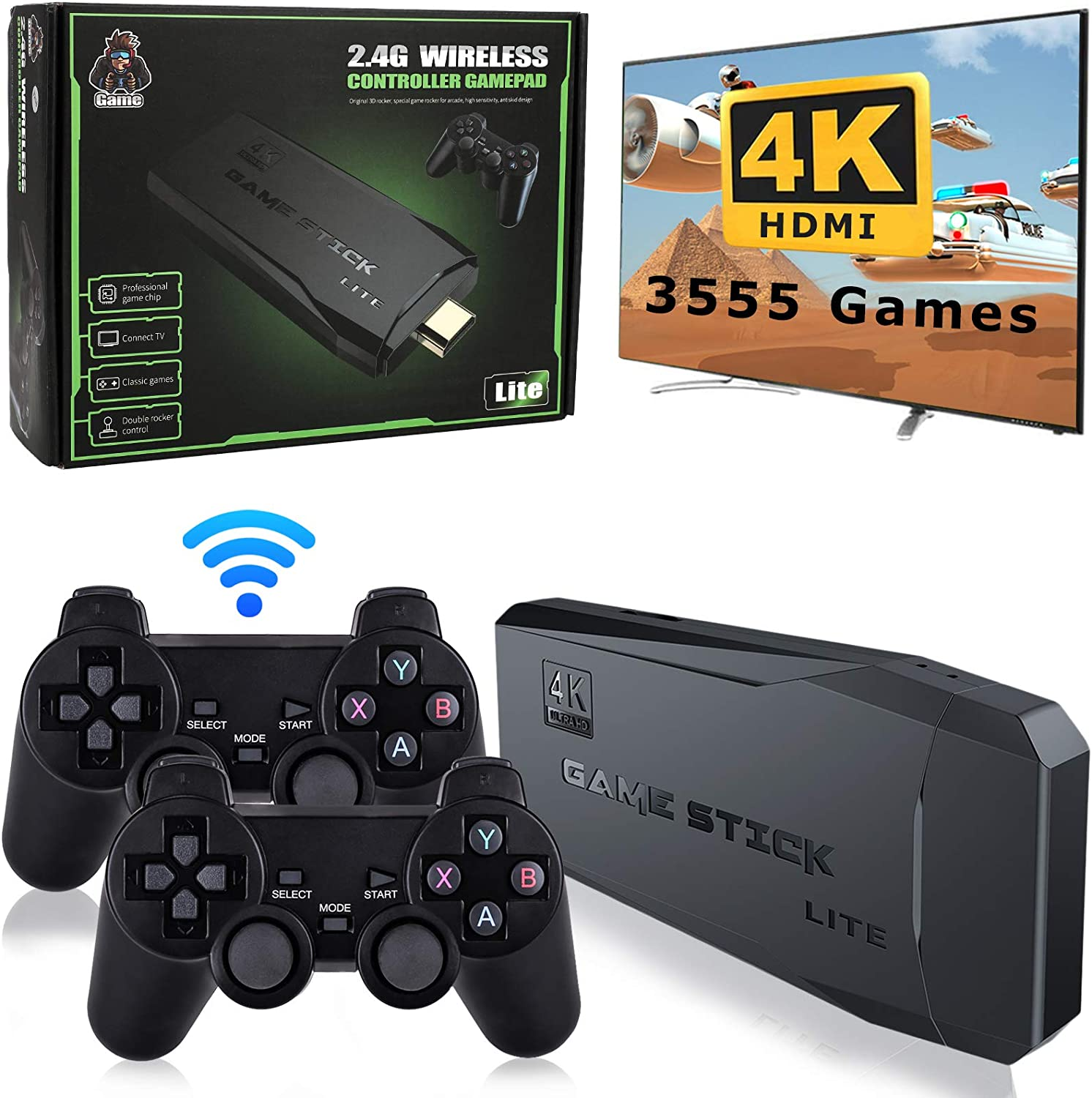 Super Integrated Retro Game Console, Plug and Play Video Game Stick, Built-in 3500 Games, 9 Classic emulators, High Definition HDMI Output for TV, 4K Console with Dual 2.4G Wireless Controllers - 32G: Toys & Games