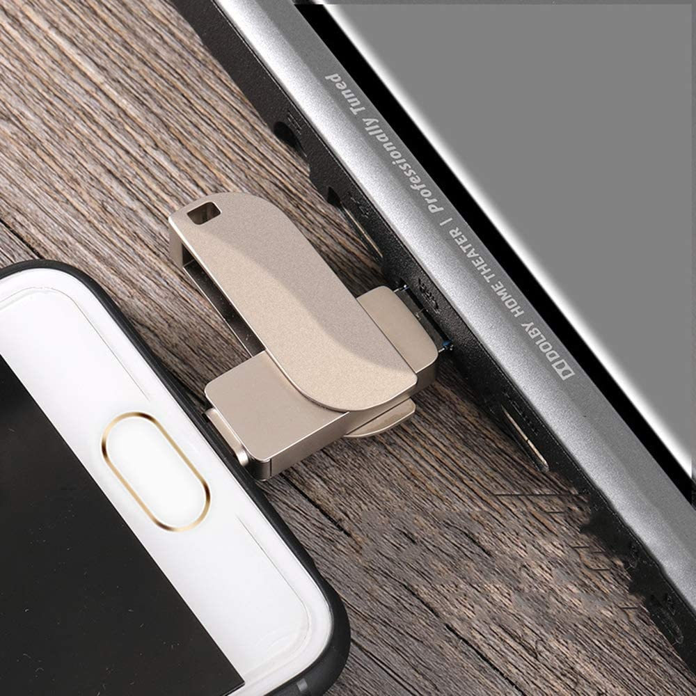 JAY-LONG USB 3.0 Rotate U Disk Type-C//Lightning//USB 3-in-1 OTG Flash Drive Storage Adapter 16//32//64//128//256GB for iOS Type-C OTG Phone /& Computers,128G