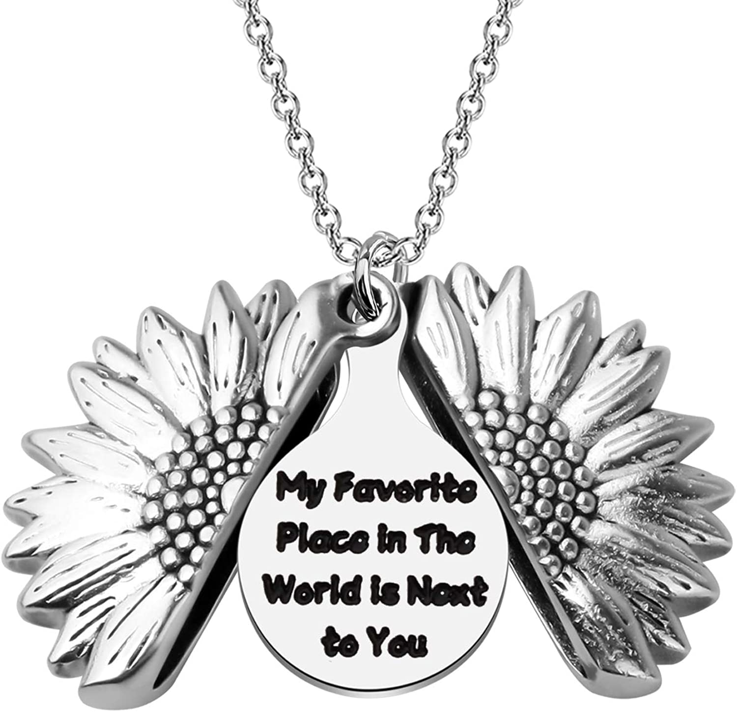 LQRI Sunflower Necklace Max 79% OFF Sweet Quote Gift Favorite Max 73% OFF My Th Place In
