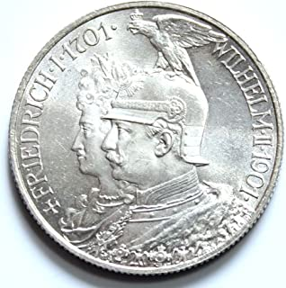 1901 DE PRUSSIA GERMAN EMPIRE 1901 SILVER 2 MARKS (200TH YR OF MONARCHY) KAISER in EAGLE HELMET! BRILLIANT UNCIRCULATED 2 (Zwei) Marks (Mark) Brilliant Uncirculated