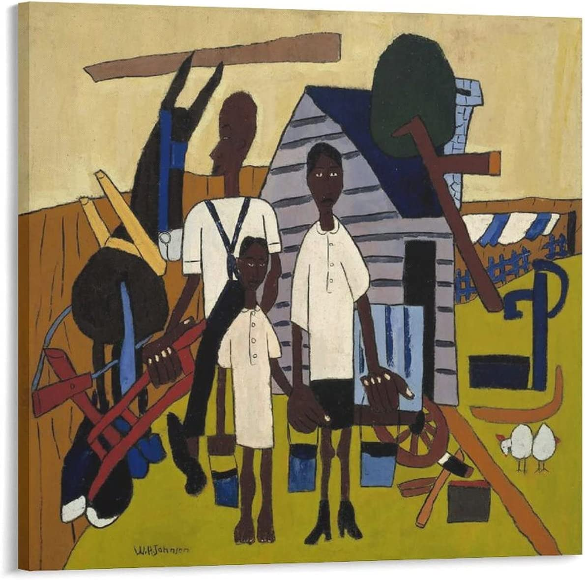 JIAXIA Super sale William H. Johnson Early Morning Work Pa Picture Art excellence Wall