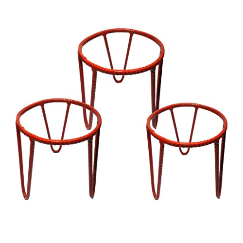 Rise Round Iron Planter Pot Stand - Pack of 3 (Red)