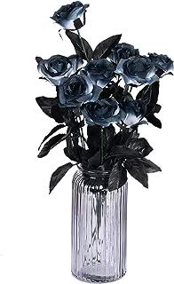 Sunm boutique 10 Pack Artificial Flowers Black Roses Bouquets Silk Bouquet Wedding Bridle Bouquet Indoor Outdoor Home Kitchen Office Table Centerpieces Arrangements Decor