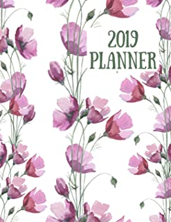2019 Planner: Purple flower stems design 2019 Weekly planner with to do lists and dot grid note pages (2019 Planners Floral Collection)