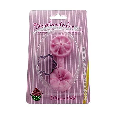 DeColorDulce Flor 3 Molde con Cortador, Silicona, Rosa, 16x10x3 cm