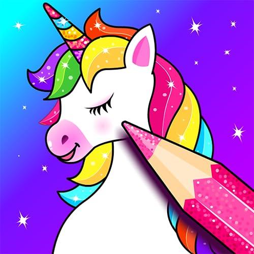 Livro de colorir do unicórnio : Arco-íris brilho de Jogos de Colorir para crianças, Aplicativo de desenho para meninas e meninos - Unicorn coloring book, games & app