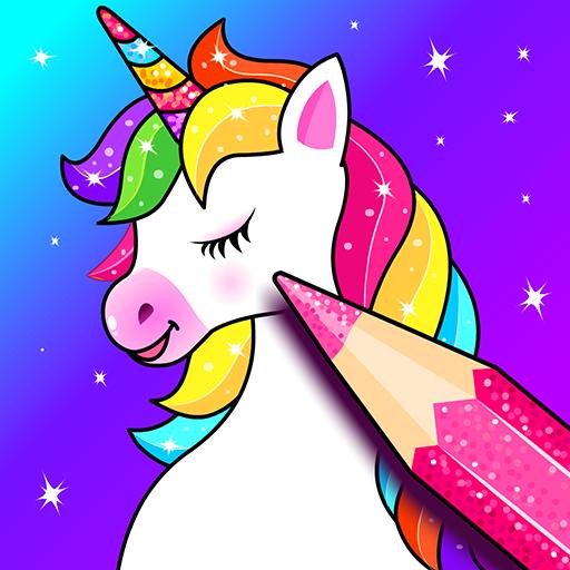 Einhorn Malbücher für Kinder: Regenbogen Glitzer Unicorn Malspiele, Zeichen-App für Mädchen und Jungen🌈🦄🎨 - Unicorn coloring book, games & app