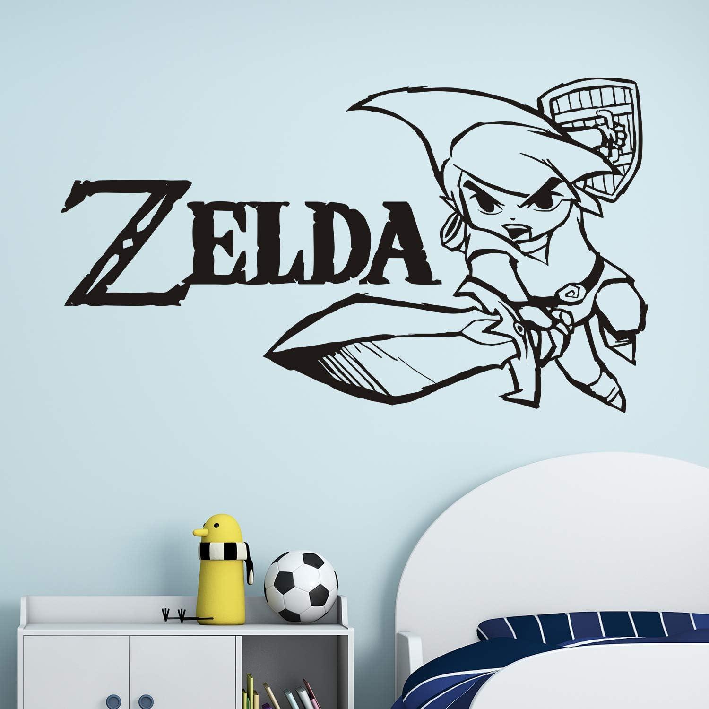 VODOE Wall Decals for Kids, Link Wall Decal, Legend of Zelda Boys Girls Baby Children Eat Sleep Gaming Master Sword Video Gamer Playroom Bedroom Nursery Stickers Family Vinyl Art Home Decor 21