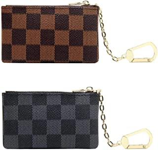 Luxury Zip Checkered Coin Pouch PU Vegan Leather Mini Key Chain Purse Wallet 2 pcs Set
